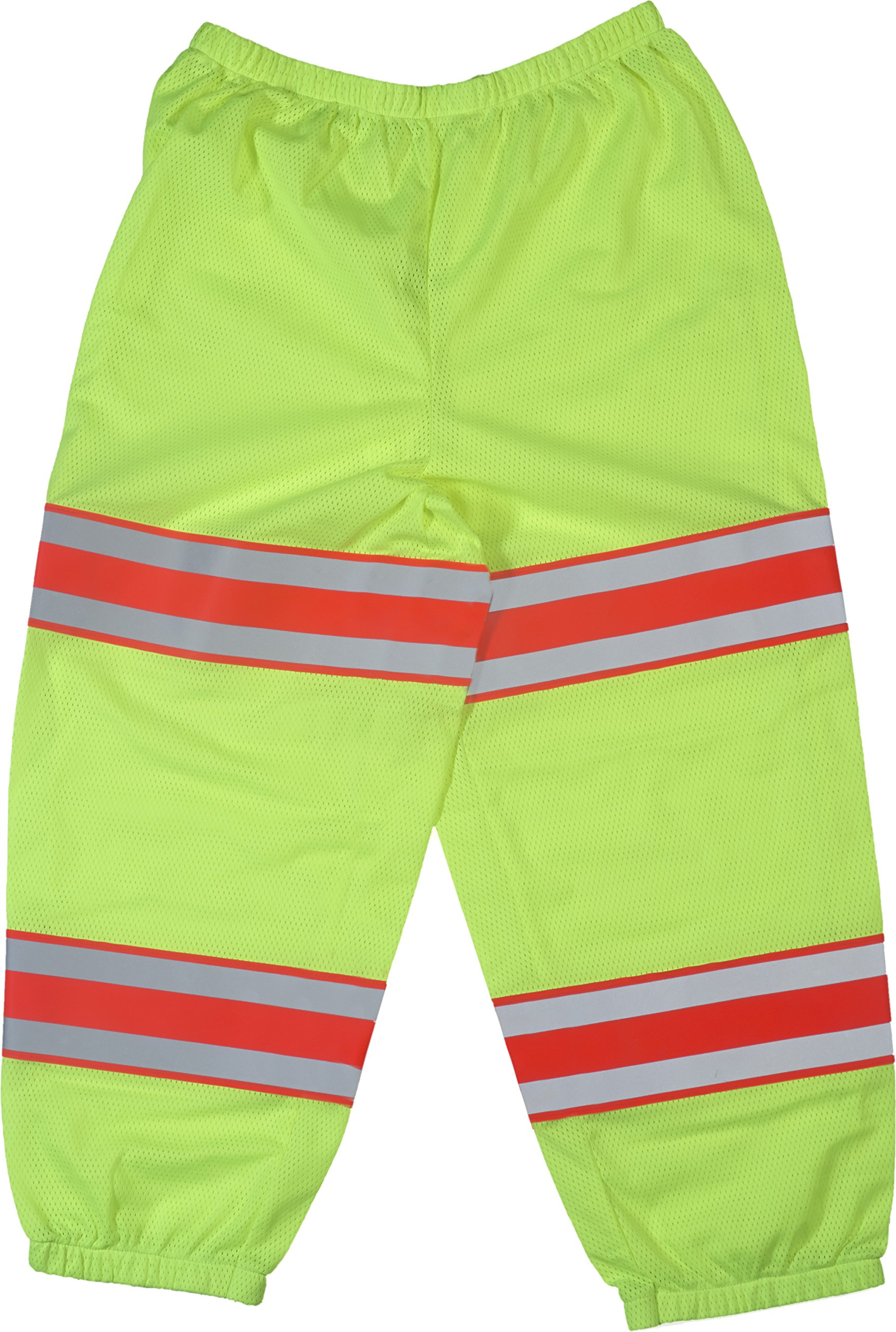 Mutual Industries 16367-139 High Visibility Polyester ANSI Class E Mesh Pant with 4'' Silver/Orange/Silver Reflective Tapes, Lime