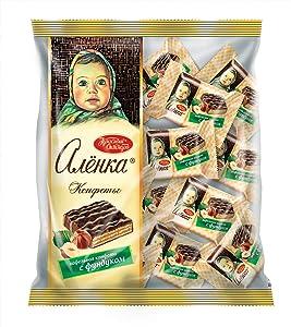 Alionka Alenka Olenka Nutty Wafer Cookies with Milk Chocolate Glaze and Hazelnuts in Individual Wraps 8.8oz/250g Gourmet Imported Russian Candy Sweets Bars UNICONF Krasnyi Oktyabr