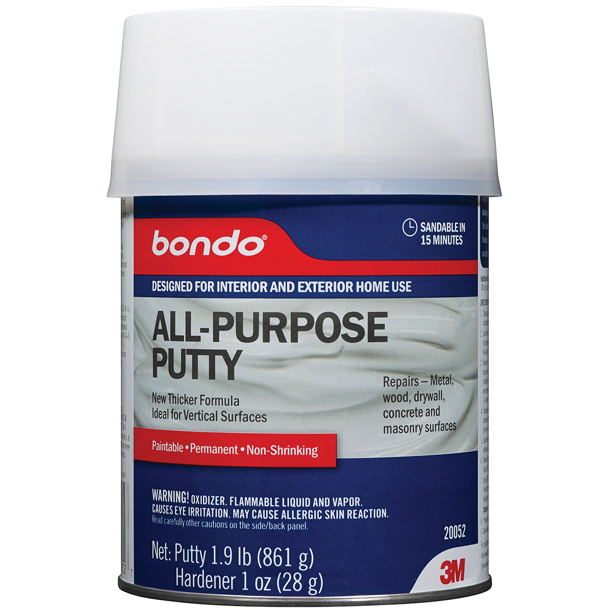 Bondo All-Purpose Putty, Designed for Interior and Exterior Home Use, Paintable, Permanent, Non-Shrinking, 1.9 lb., 1-Quart