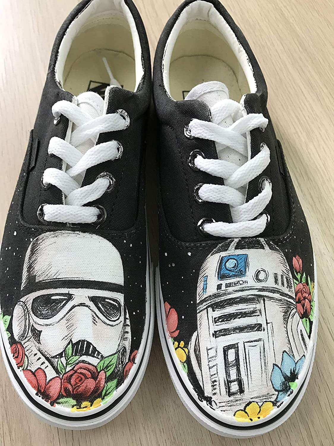 33e237f877 Amazon.com  Star Wars Custom Vans Authentic Custom Shoes Vans Authentic  Custom Hand Painted Shoes Hand Painted Vans Authentic Custom Vans Sneakers  FREE ...