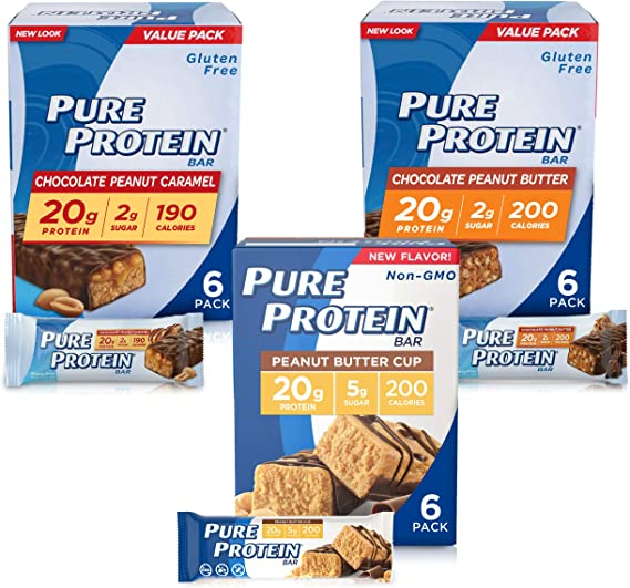 Amazon.com: Pure Protein Bars, High Protein, Nutritious Snacks to Support Energy, Low Sugar, Gluten Free, Peanut Butter Lovers Variety Pack, 1.76 oz, Pack of 18: Health & Personal Care
