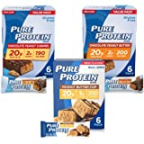Pure Protein Bars, High Protein, Nutritious Snacks to Support Energy, Low Sugar, Gluten Free, Peanut Butter Lovers Variety Pack, 1.76 oz, 18 count
