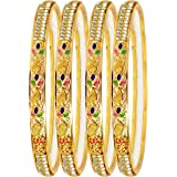 Mansiyaorange Traditional Party One Gram Gold Style Hand Made Meena Multi Colored Golden Bangles Set for Women