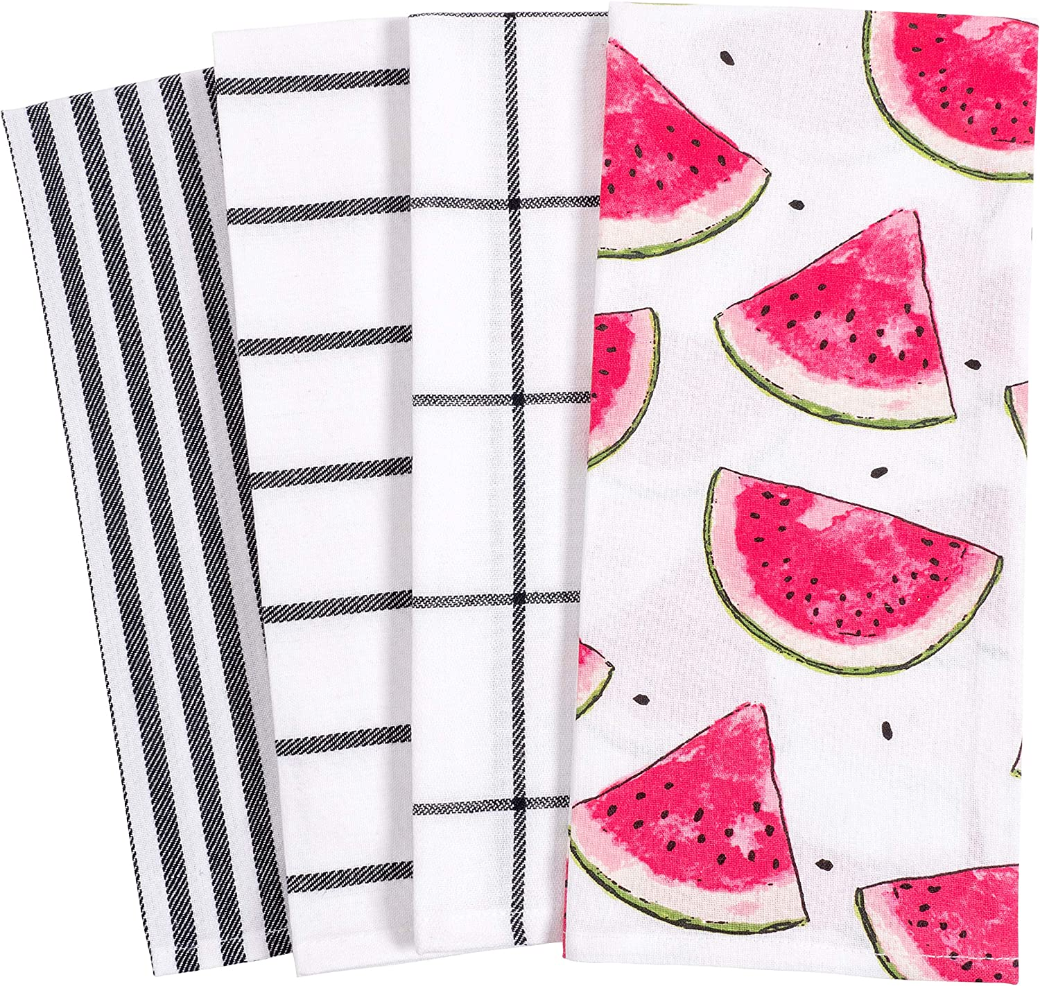 KAF Home Pantry Watermelon Slices All Over Kitchen Dish Towel Set of 4, 100-Percent Cotton, 18 x 28-inch