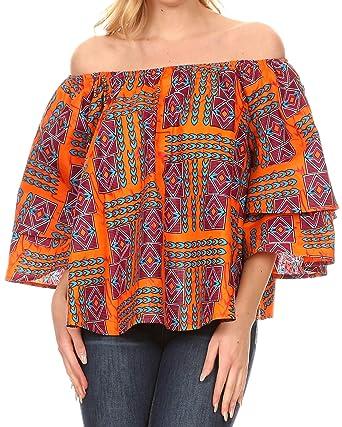 7c739301c5eb0a Sakkas DRT166 - Omari Off-Shoulder Bell Sleeve Blouse Top Relax Fit Ankara  African Wax
