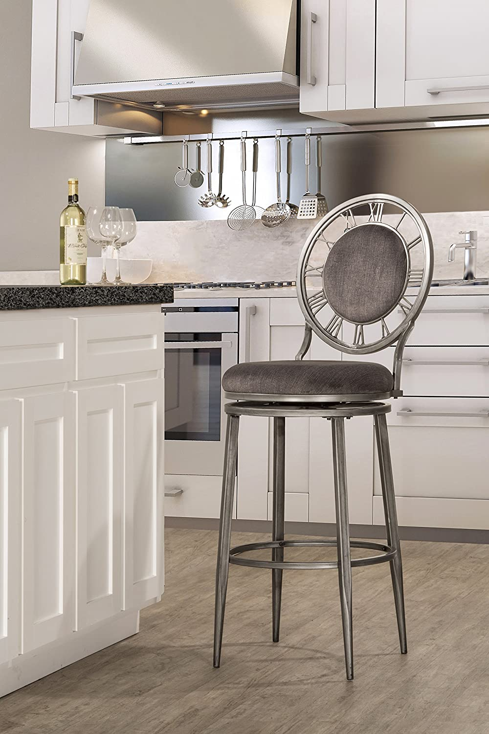 Hillsdale Furniture 5905-830 Big Ben Swivel Bar Stool, Pewter