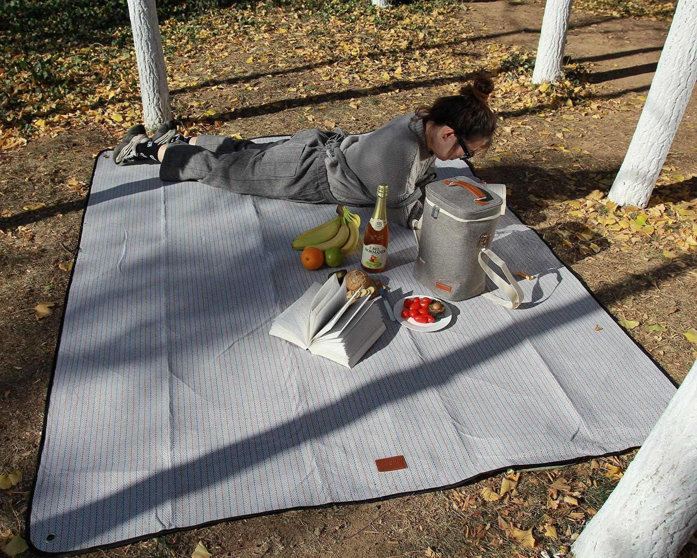 Coperta da picnic extra large telo da spiaggia impermeabile portatile allaperto coperta 79 x 59 tappeto oversize spesso poliestere e cotone twill coperta con picchetti per picnic allaperto campin