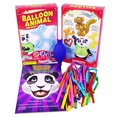 Balloon Animal University Kit Now with Even More Creations! 25 Balloons Custom Colors with Qualatex, Unbreakable Air Pump, Instruction Book and Videos. Learn to Make Balloon Animals Starter Kit: Toys & Games