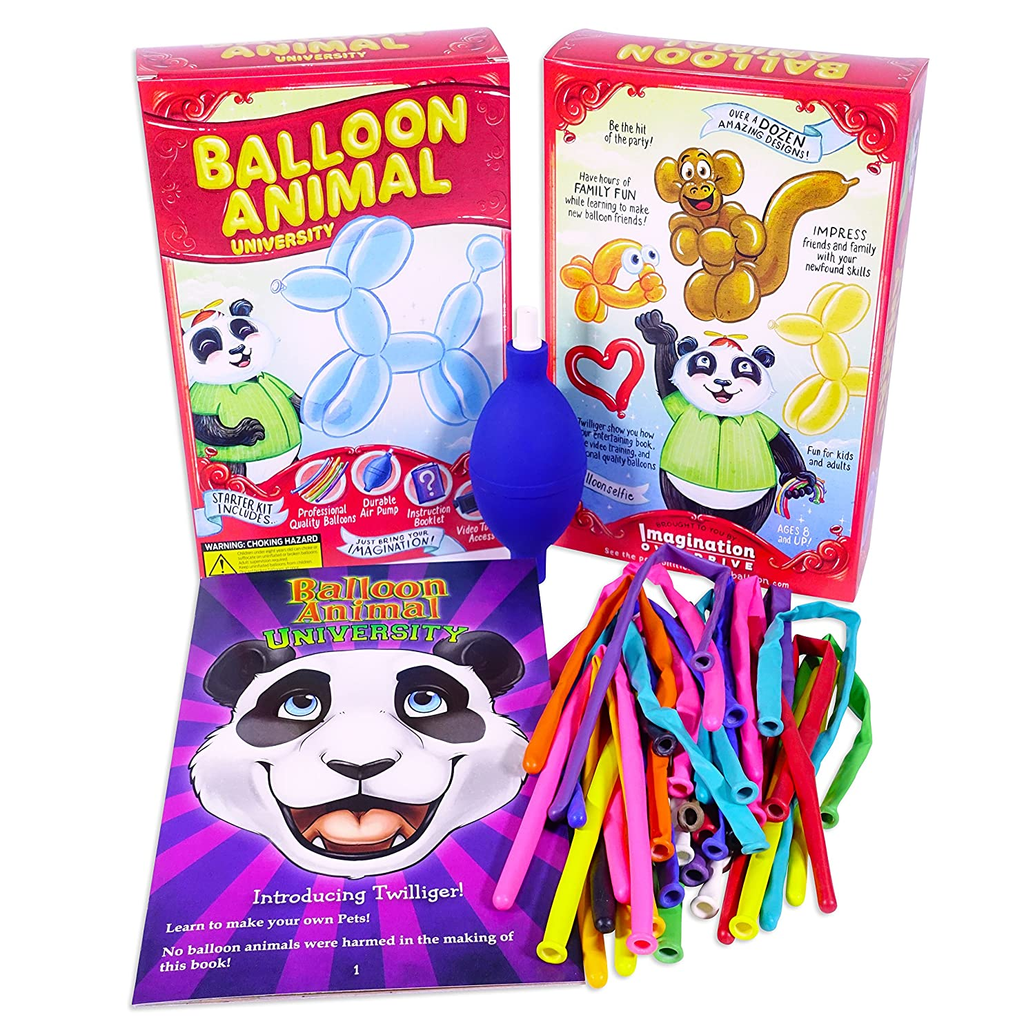 Balloon Animal University Kit NOW with even more creations! 25 Balloons Custom Colors with Qualatex, Unbreakable Air Pump, Instruction Book and Videos. Learn to Make Balloon Animals Starter Kit Imagination Overdrive Inc. Standard Edition
