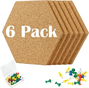 combocube 6 Pack 0.4 Inch Thick Cork Hexagon Board Tiles with 50 Multi-Color Push Pins Decorative Strong Self-Adhesive Bulletin Board for Wall Home Office Decor School Supplies