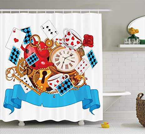 Alice In Wonderland Decorations Shower Curtain Set By Ambesonne, Mad Design  Of Cards Clocks Tea
