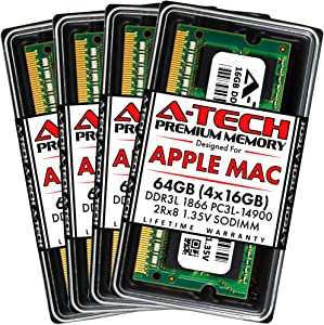 A-Tech 64GB (4x16GB) RAM for Late 2015 iMac 27 inch Retina 5K | DDR3L 1866MHz / 1867MHz PC3L-14900 SO-DIMM 204-Pin CL13 1.35V Non-ECC Unbuffered Max Memory Upgrade Kit