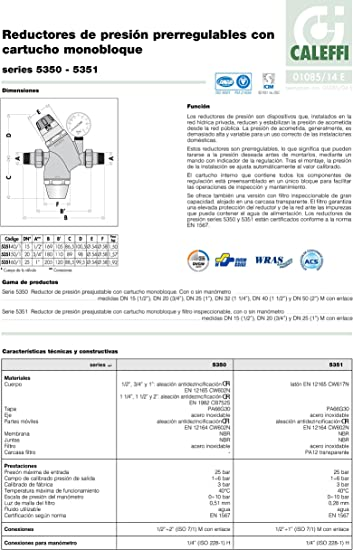 535151 Reductor de presi/ón 3//4 con cartucho monobloque extra/íble CALEFFI