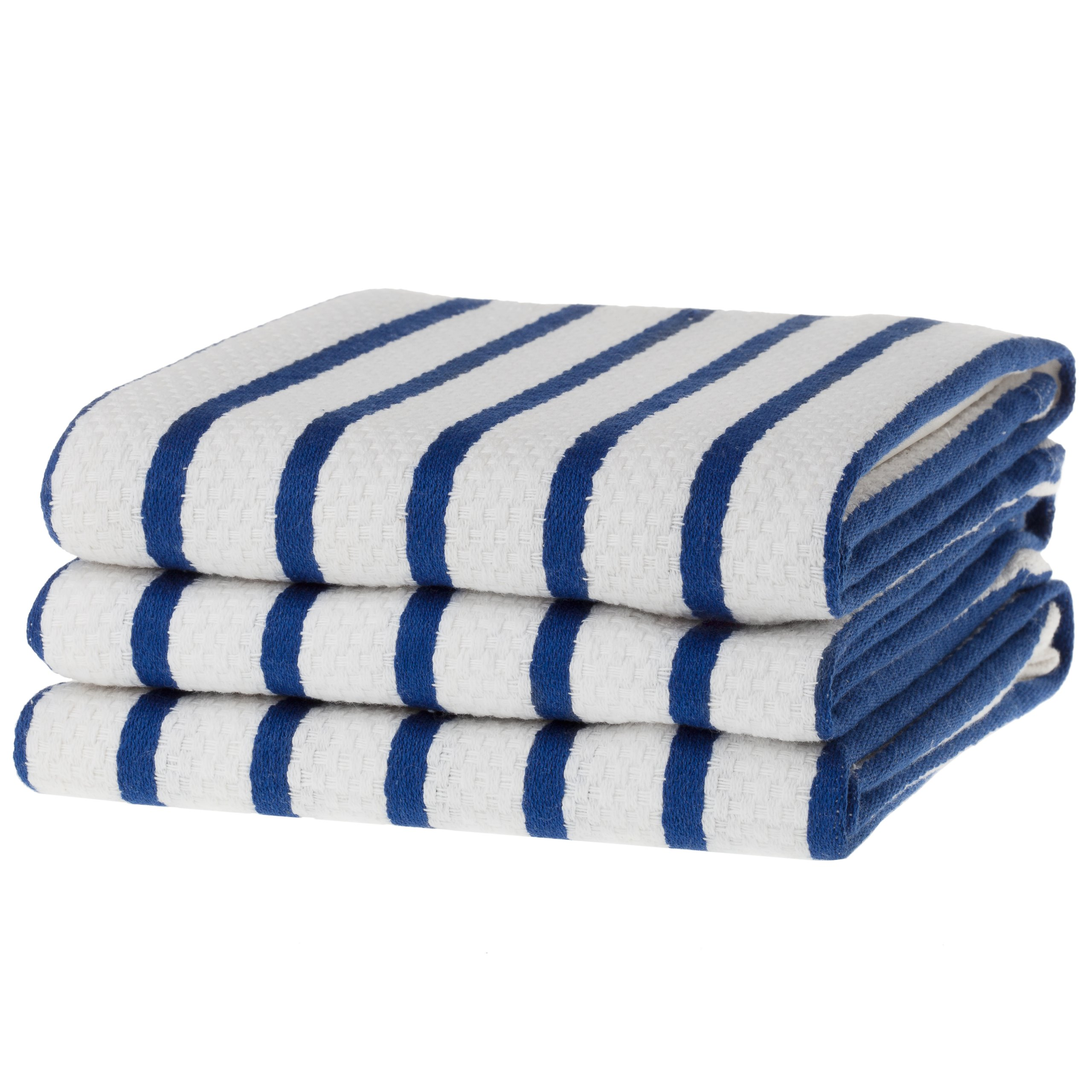 KAF Home Basket Weave Kitchen Towels, White with Royal Blue Stripes, Set of 3, 100% Cotton, Over-sized & Super Absorbent