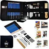 NUDGE Da Vinci 33 Piece Sketch & Drawing Pencils Studio - Includes Graphite & Charcoal Pencils, Sticks and Tools