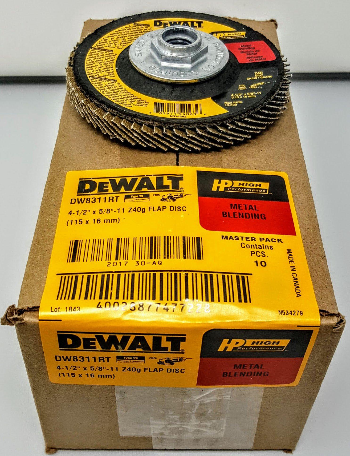 DEWALT DW8311RT 4-1/2'' x 5/8''-11 Thread 40 grit High-Performance Flap Disc (10)