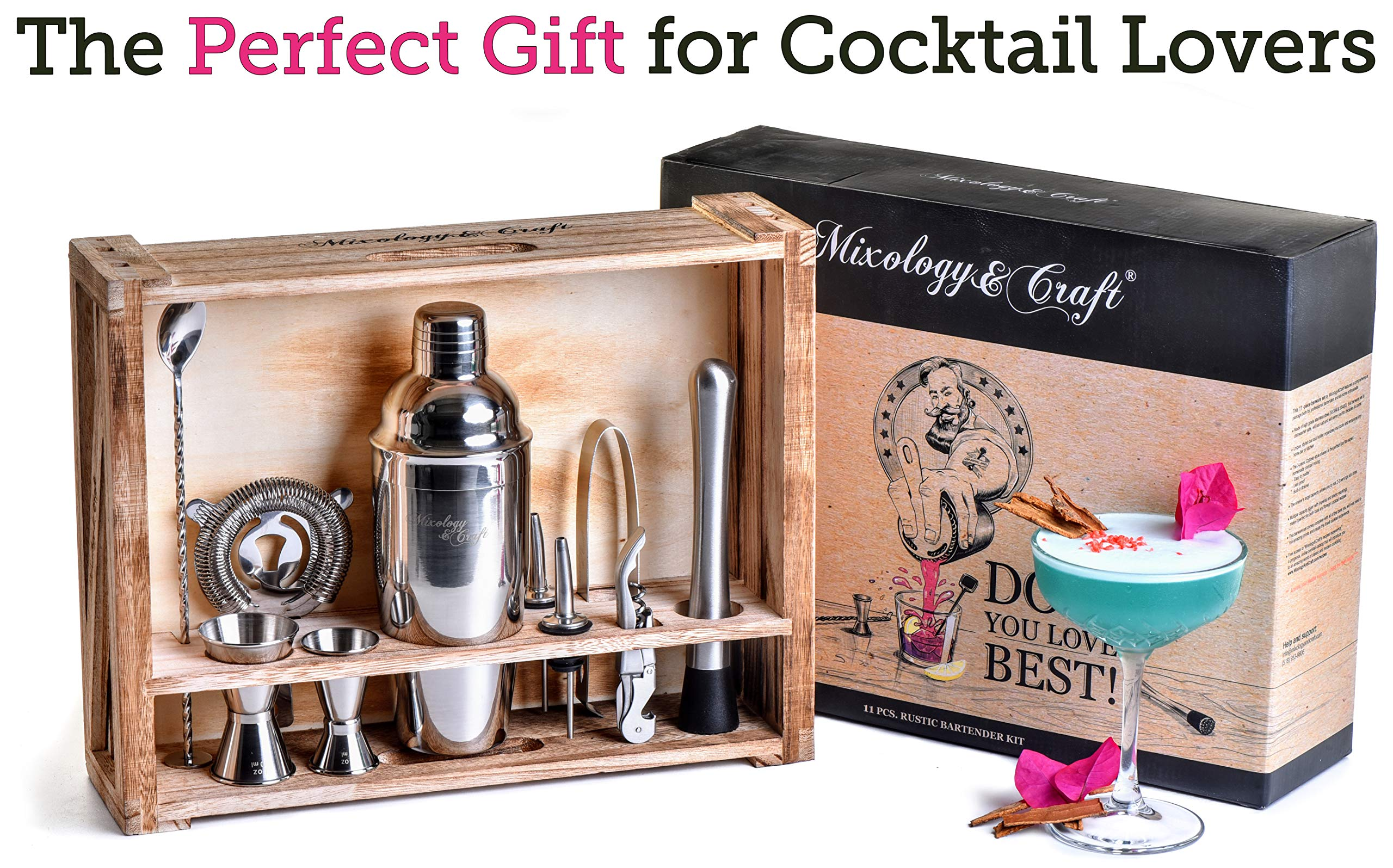 Mixology Bartender Kit: 11-Piece Bar Tool Set with Rustic Wood Stand - Perfect Home Bartending Kit and Cocktail Shaker Set For an Awesome Drink Mixing Experience - Exclusive Cocktail Recipes Bonus by Mixology & Craft (Image #3)