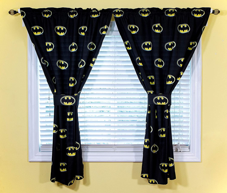 JPI DC Comics Batman Kids Bedroom Curtains & Tiebacks 4-Piece Set for Boys Room Decor - Superhero Batman Emblem - Officially Licensed - 42'' x 63'' - 100% Polyester