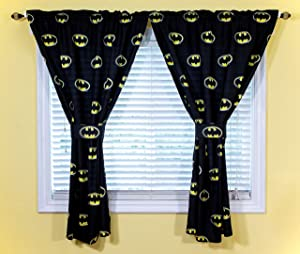 JPI DC Comics Batman Kids Bedroom Curtains & Tiebacks 4-Piece Set for Boys Room Decor - Superhero Batman Emblem - Officially Licensed - 42'' x 63'' - 100% Polyester