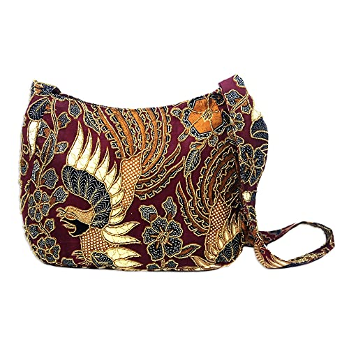 NOVICA Red Hand Beaded Cotton Batik Shoulder Bag, King's Bird'