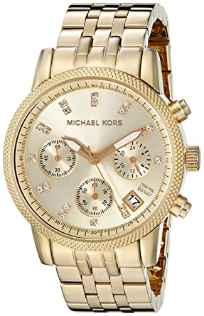 bf2a73d74304 Amazon.com  Michael Kors Women s MK5676 Ritz Gold-Tone Stainless Steel  Chronograph Watch  Michael Kors  Watches