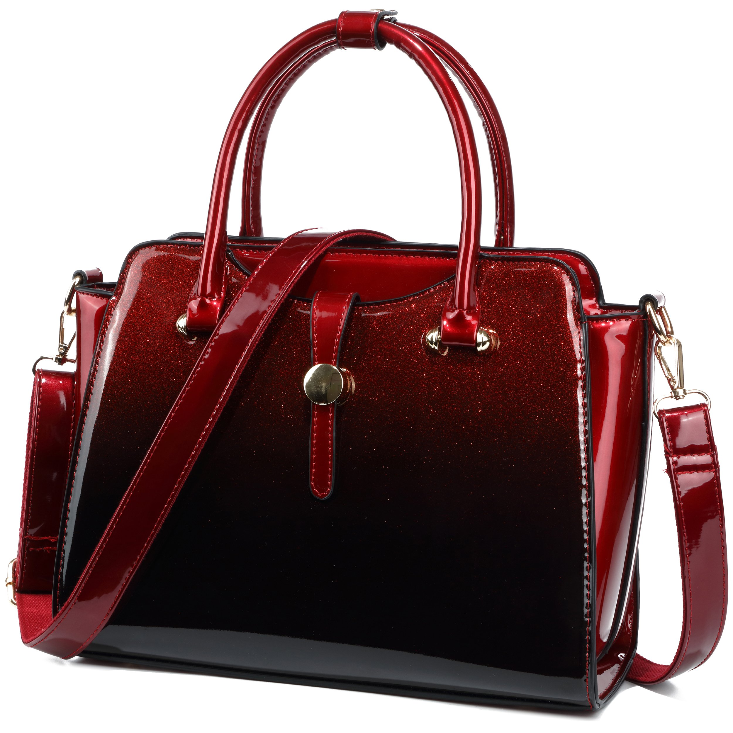 Womens Patent Leather Satchel Handbags (Red)