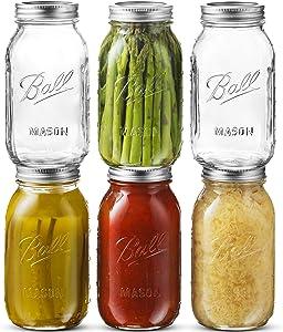 Ball Regular Mouth Mason Jar 32 oz [6 Pack] Glass Mason Jars With Airtight lids and Bands - For Canning, Fermenting, Pickling - Freezing, Microwave & Dishwasher Safe - Bundled With SEWANTA Jar Opener