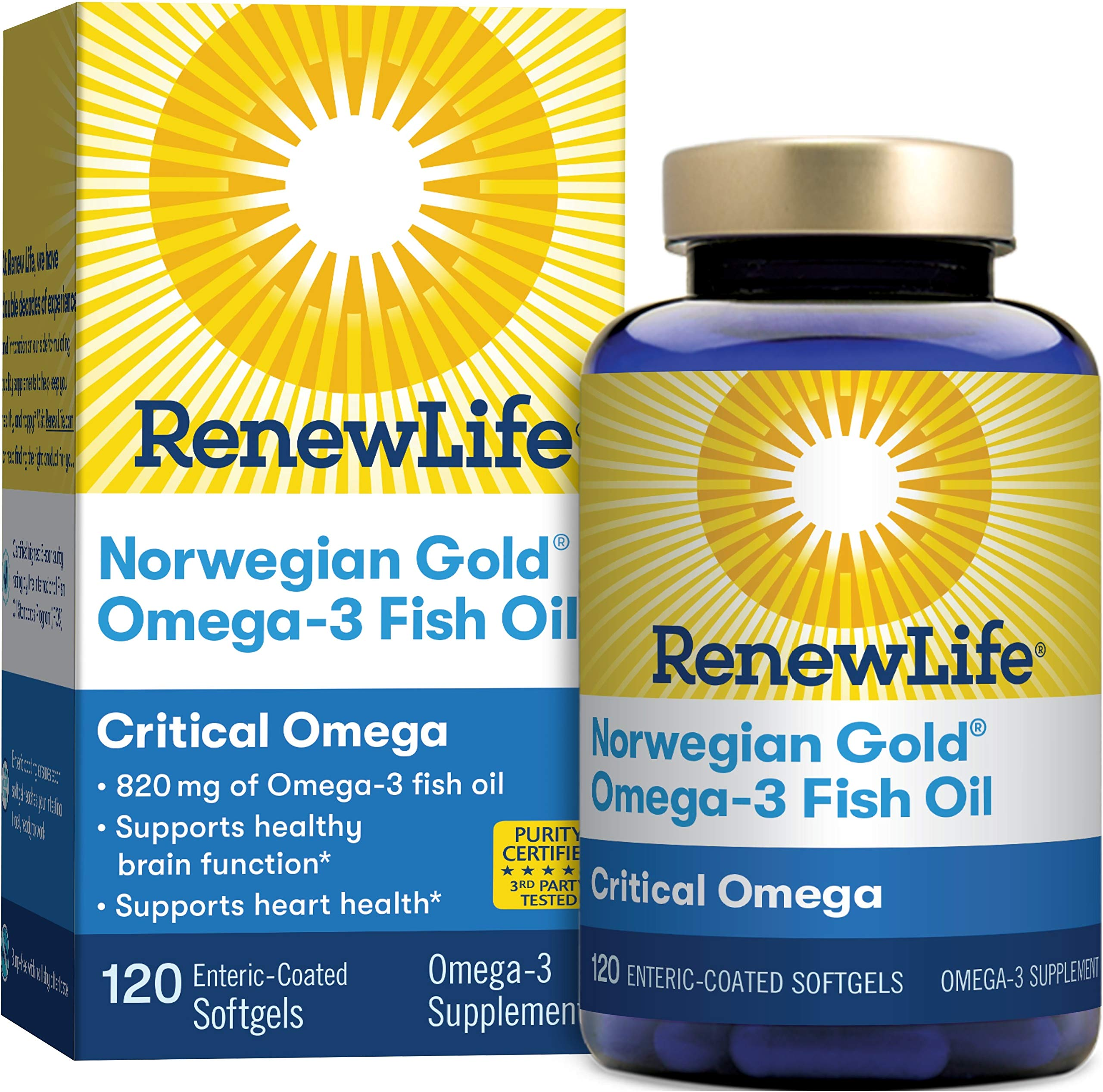 Renew Life Norwegian Gold Adult Fish Oil - Critical Omega, Fish Oil Omega-3 Supplement - gluten & dairy Free - 120 Burp-Free Softgel Capsules (Packaging May Vary) by Renew Life