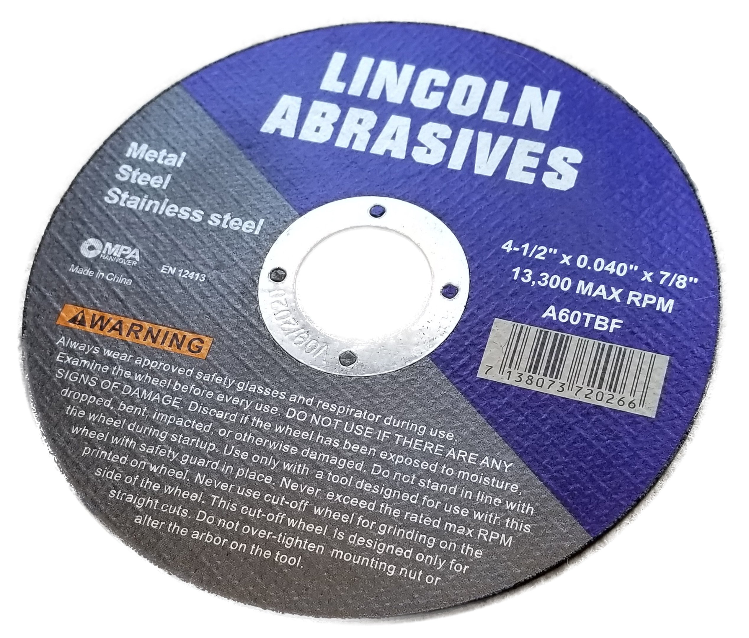 500 Pc 4.5''x.040''x7/8'' Cut-Off Wheels Lincoln Abrasives Metal & Stainless Steel by Lincoln Abrasives (Image #3)
