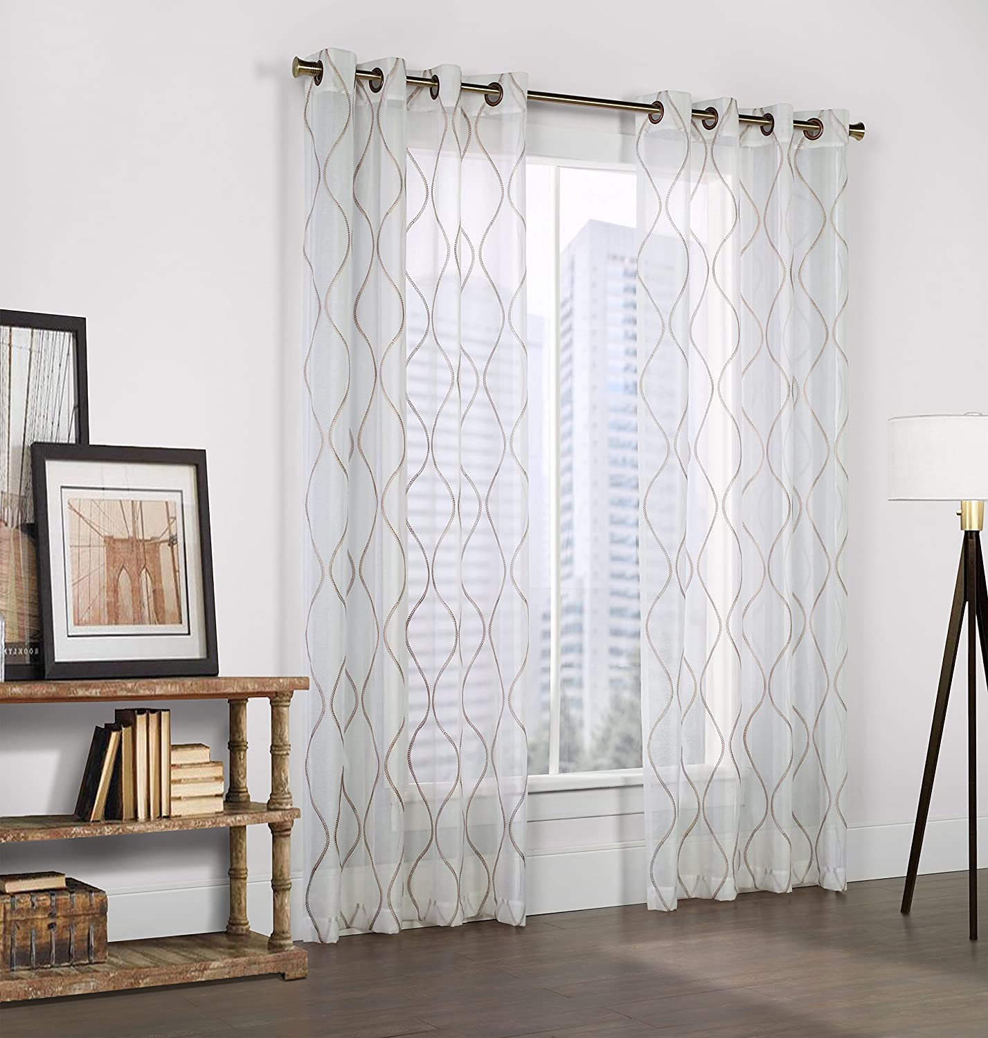 Common Wealth Home Fashions Crystal Couture Embroidered Faux Linen Curtain Panel, 54 X 95, White