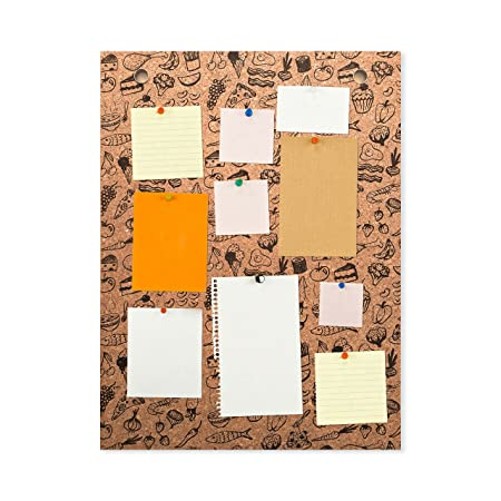 fa7c03c8861 Cork Food Print Pattern Notice Pin Board Pad Frame-less (600x450):  Amazon.co.uk: Kitchen & Home