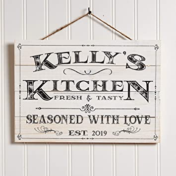 Artblox Personalized Wall Decor | Custom Gifts Kitchen Signs | Rustic  Country Kitchen Decor | Farmhouse Decor | Farmhouse Kitchen Decor | Last  Name ...