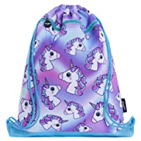 FRINGOO® Kids Drawstring Bag With Front Zipped Pocket PE Kit Bag School Backpack (L:34cm*H:42,5cm, Hologram Unicorns)