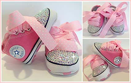 SNEAKERS BABY SHOES ROSA STRASS Aurora Boreale 0-3 MESI Scarpine Neonato  Battesimo Crystal Bebè Infant Luxury Newborn Christening  Amazon.it  Prima  infanzia 5994d88603a