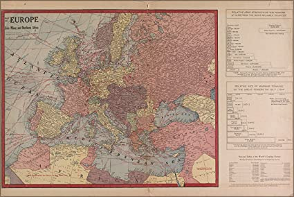 Amazon.com: 24x36 Poster; WWI Map Of Europe & Force Size 1917 ...