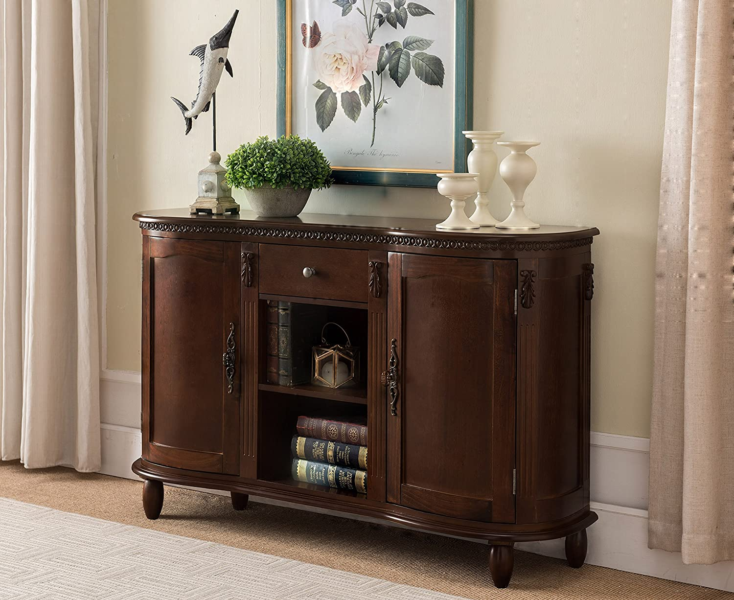 Kings Brand Furniture - Wood Buffet Server/Sideboard Console Table Cabinet, Walnut