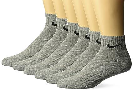 buy online 8bf30 a6cc2 NIKE Unisex Performance Cushion Quarter Socks with Bag (6 Pairs), Dark Grey  Heather