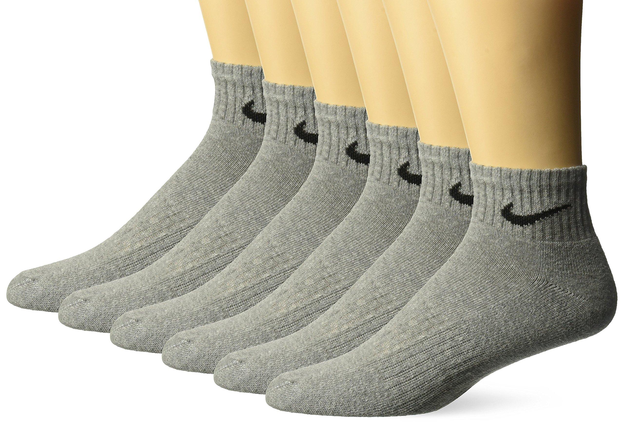 NIKE Unisex Performance Cushion Quarter Socks with Bag (6 Pairs), Dark Grey Heather/Black, Medium