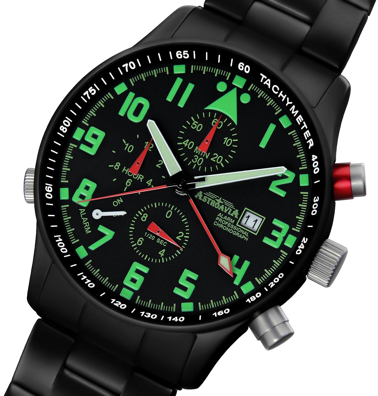 Astroavia R44BS Alarm Chronograph mit Edelstahl Armband Herren-Armbanduhr 40 mm