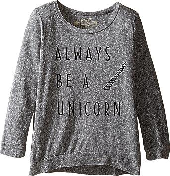 027a26698 Amazon.com: The Original Retro Brand Kids Womens Always Be A Unicorn 3/4  Pullover (Big Kids): Clothing