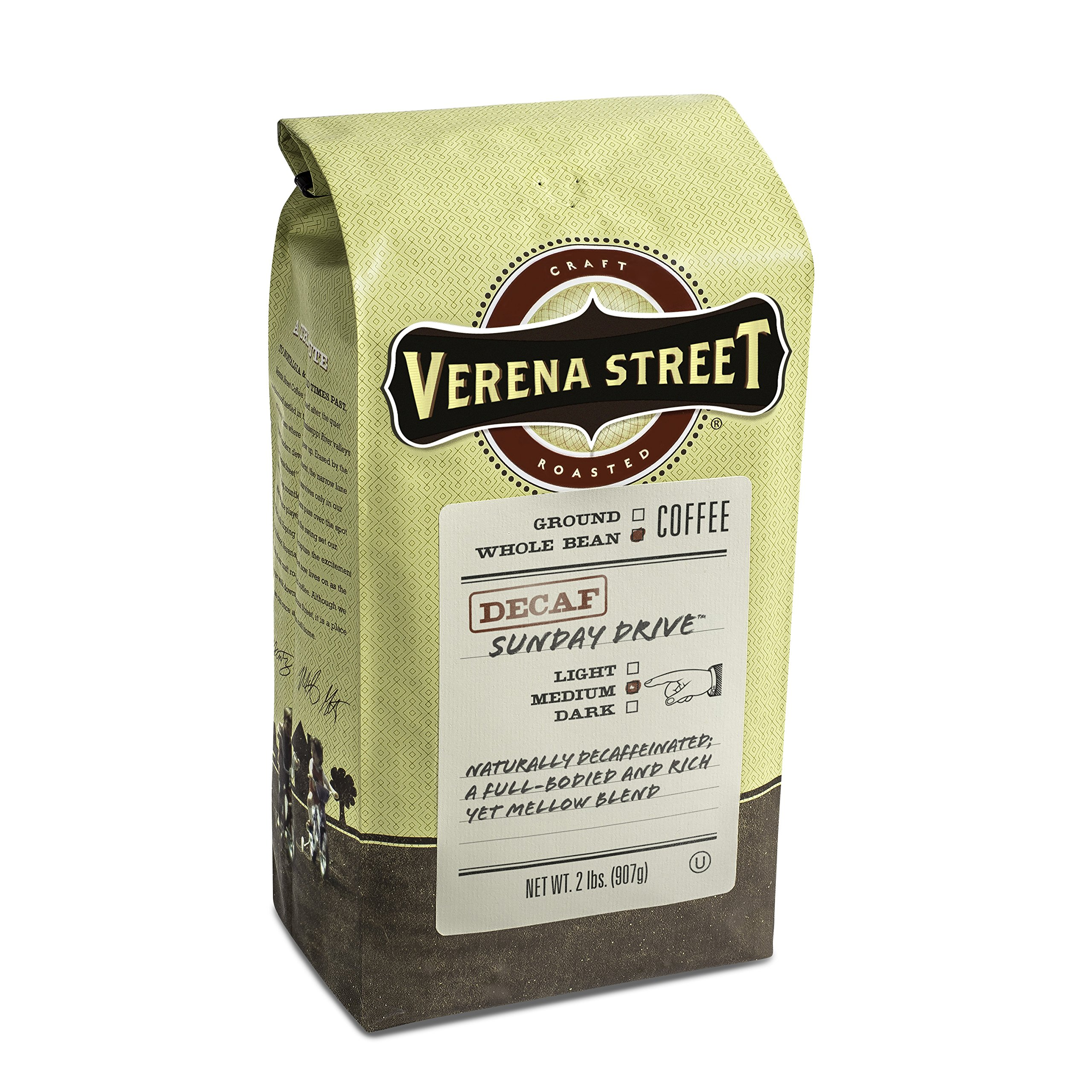 Verena Street 2 Pound Whole Bean, Swiss Water Process Decaf Beans, Sunday Drive Decaffeinated, Medium Roast Rainforest Alliance Certified Arabica Coffee by Verena Street