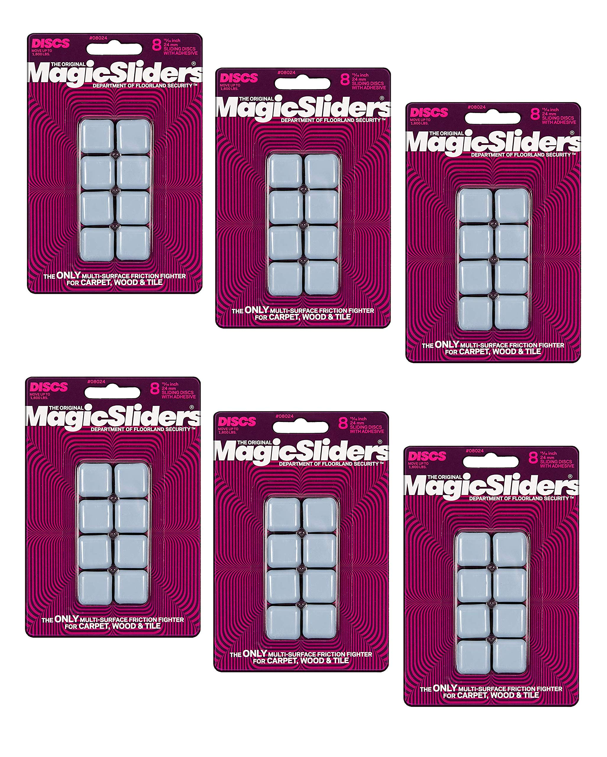 Magic Sliders 8024 Series 15/16'' SQ Slider, White, 8 Per Pack, Sold as 6 Pack, 48 Count Total