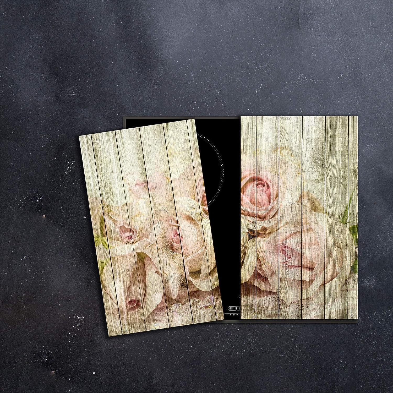 Ceranfeldabdeckung 2 Teilig 2x30x52 cm Herdabdeckplatten Blumen Elektroherd Induktion Herdschutz Spritzschutz Glasplatte Schneidebrett Pink Natur DAMU