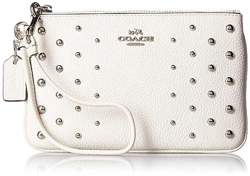 Coach - Cartera de mano con asa para mujer blanco Silver/Chalk: Amazon.es: Zapatos y complementos
