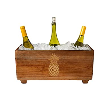 Cathy's Concepts Pineapple Wooden Wine Trough, Brown