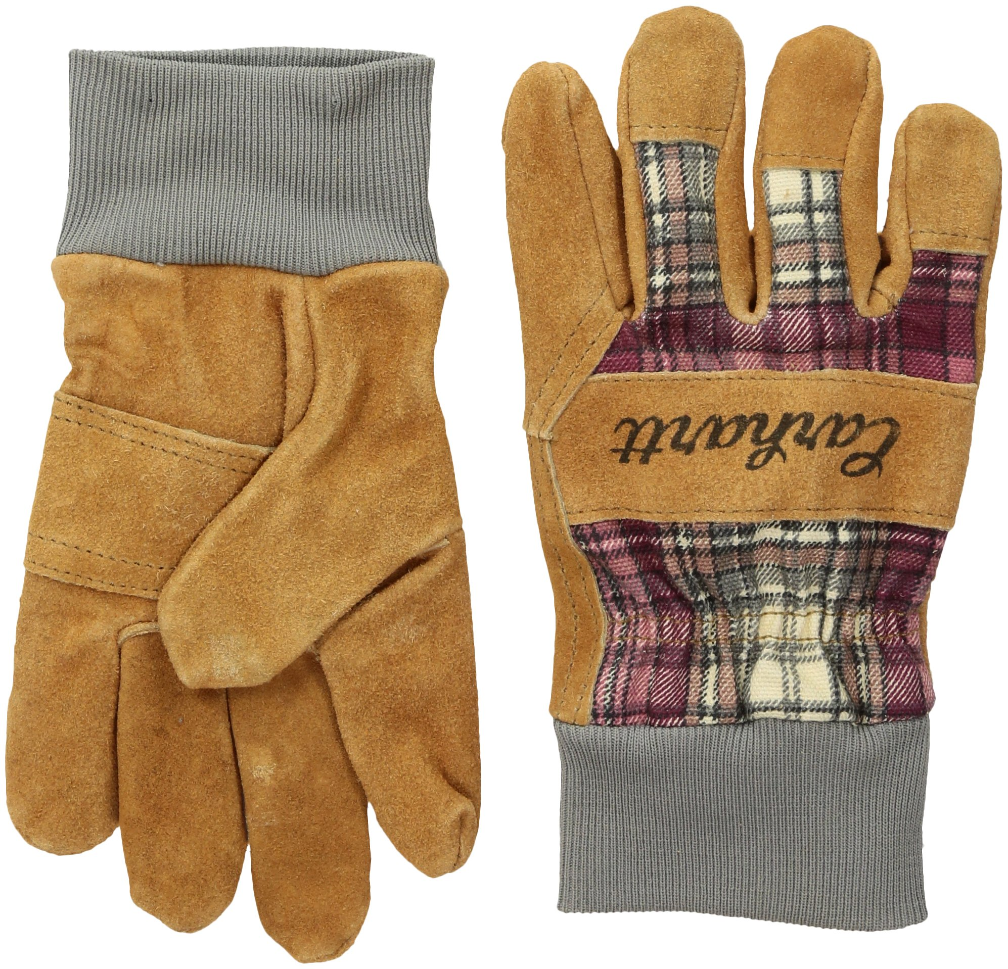 Carhartt Women's Suede Work Glove with Knit Cuff, Wild Rose Plaid, L