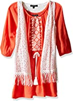 My Michelle Big Girls' Peasant Dress With Drawstring Tassel Waist, Embroidery and Fringed Vest