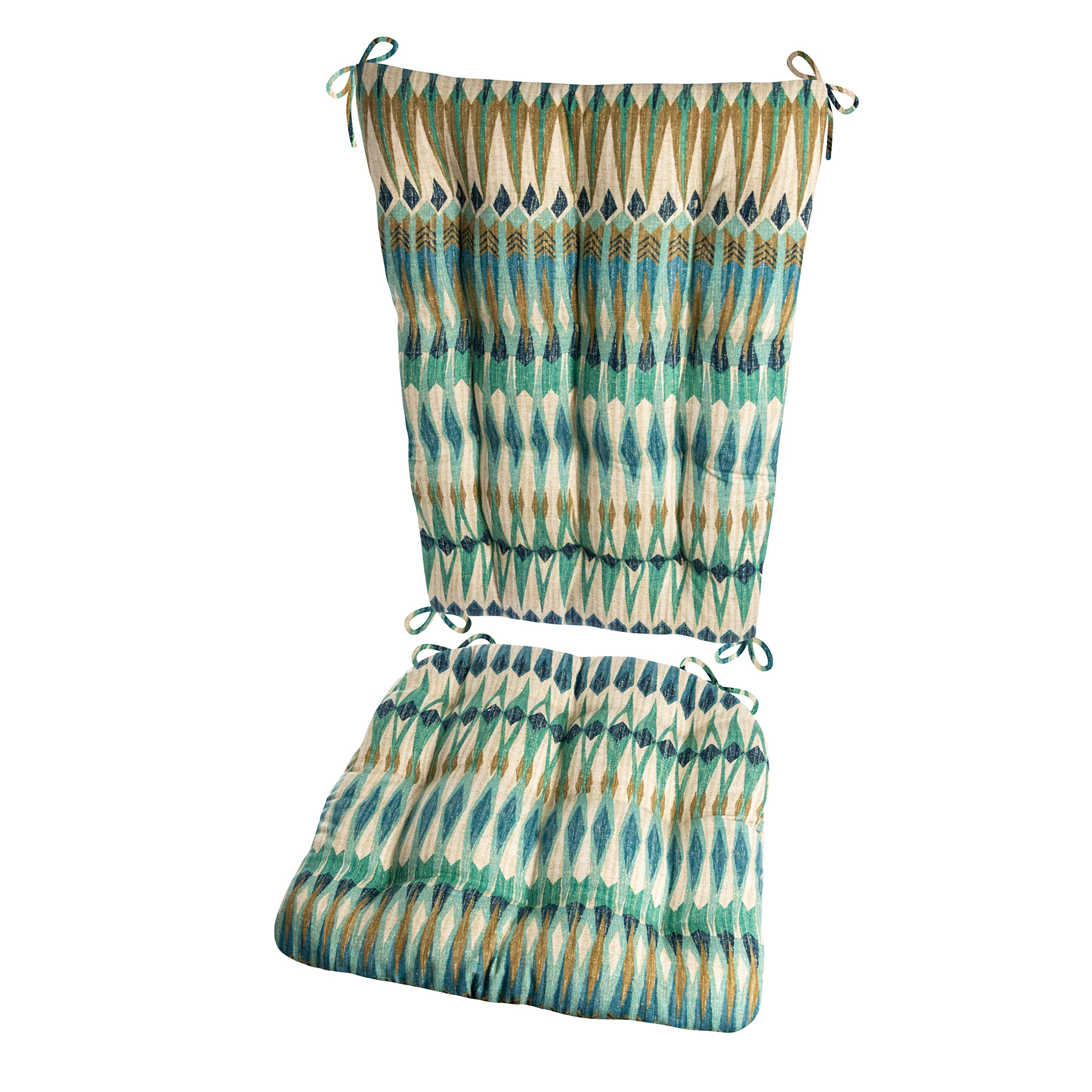 Barnett Products Southwest Arapaho Rocking Chair Cushions - Size Extra-Large - Seat Cushion and Back Rest - Latex Foam Fill (Presidential, Green/Teal Eagle Feathers) by Barnett Products (Image #1)