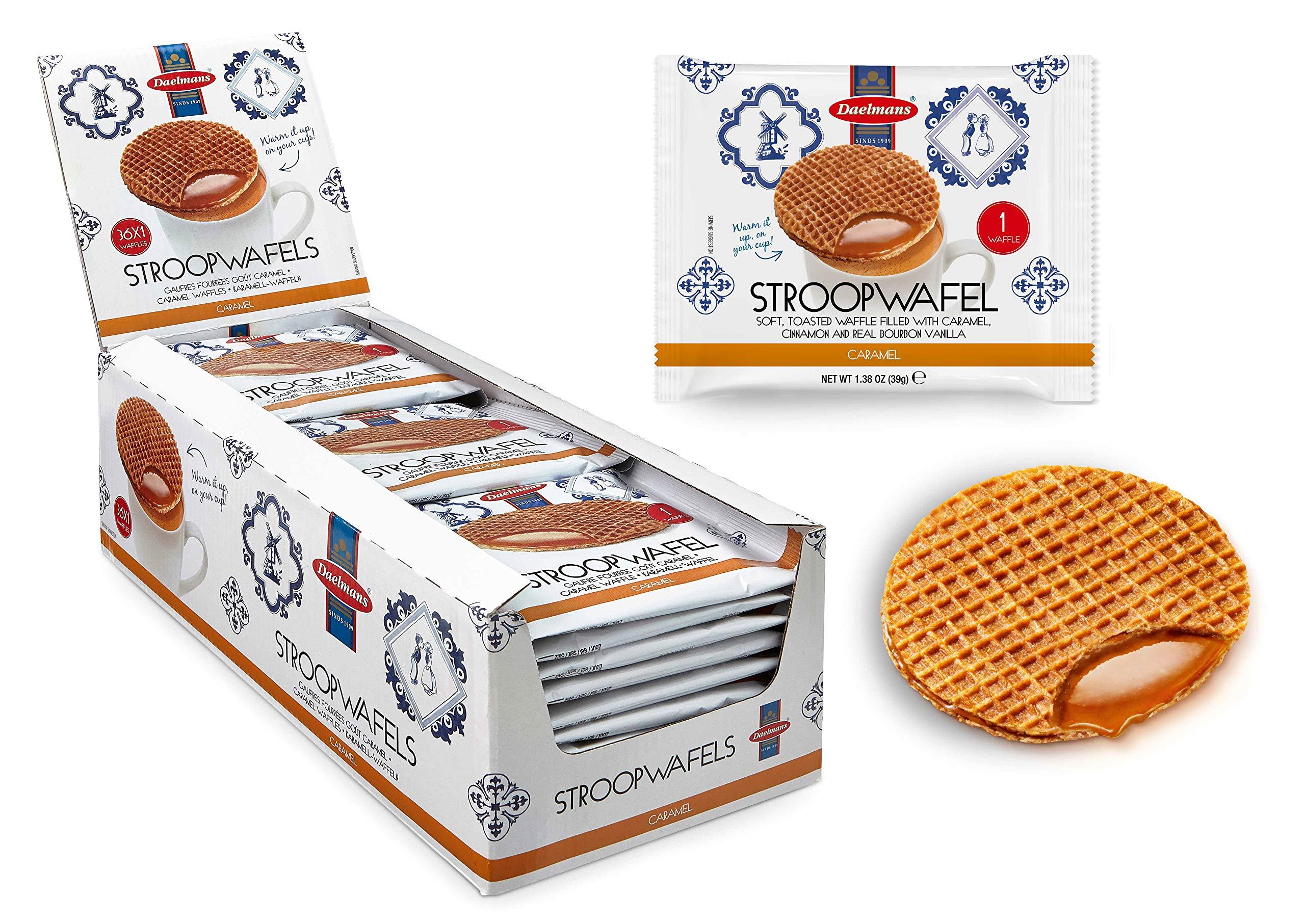 Daelmans Stroopwaffels | Caramel Stroopwaffle | Caramel Wafers - 39 g x 36 in a Box - Warm it up on Your Cup