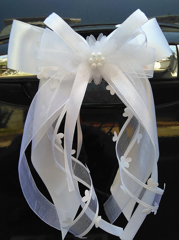 MIYA BEAUTYCENTER 10lazos decorativos marca hechos a mano y con diseño de corazón en satén para decoraciones de boda, coches. etc., weiss, 3 cm helllila